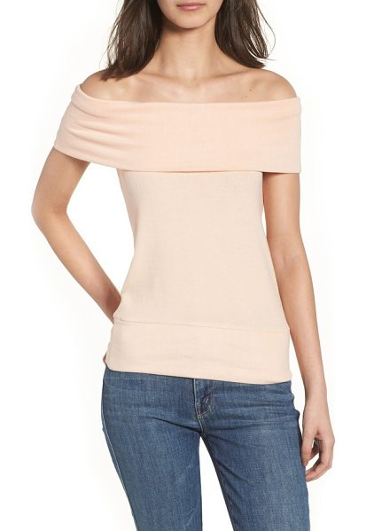 cupcakes and cashmere cathie off the shoulder top in peach parfait - Work those collarbones in this simple knit top styled...