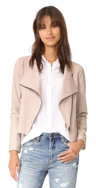 cupcakes and cashmere collin soft drape front moto jacket in parchment - A lightweight leather cupcakes and cashmere jacket. Zips...