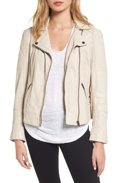 cupcakes and cashmere darby leather moto jacket in almond - Creamy, supple leather puts a soft spin on a moto-chic...