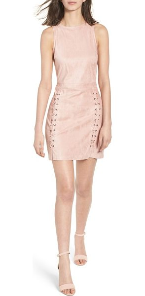cupcakes and cashmere daton faux suede dress in nude pink - Whipstitched trim and silvertone grommets bring edgy...