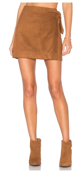 "cupcakes and cashmere Deegan Skirt in brown - ""Poly blend. Dry clean only. Unlined. Wrap front with..."