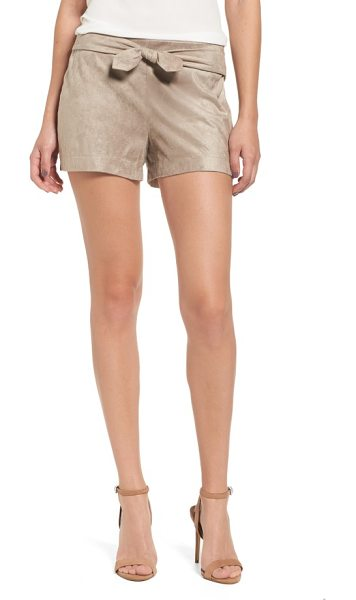 CUPCAKES AND CASHMERE gracyn faux suede shorts in toffee - Tailored shorts made for strutting, whether to the...