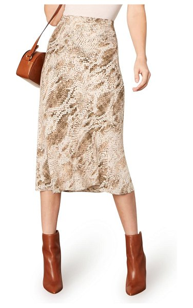 cupcakes and cashmere linda snake print skirt in beige