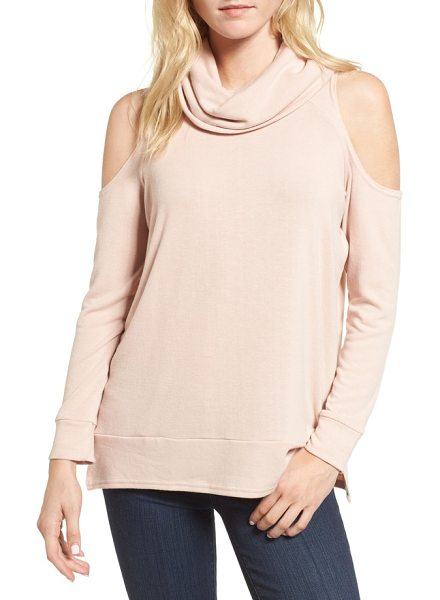 cupcakes and cashmere malden cold shoulder sweater in rose smoke