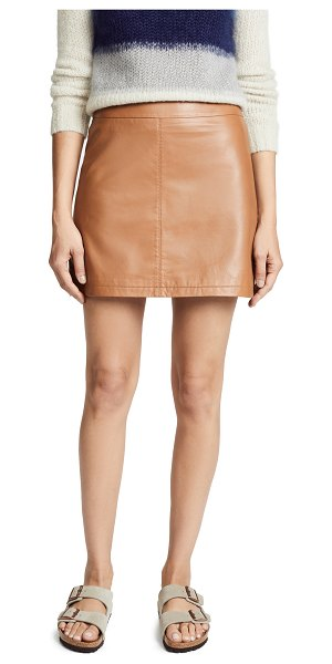 cupcakes and cashmere marrie leather a-line skirt in dark camel - Fabric: Leather Miniskirt Hidden zip at back Lined...