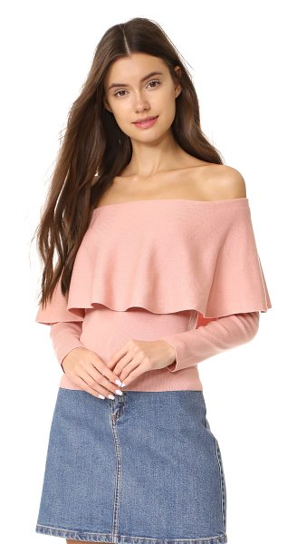 cupcakes and cashmere otis off shoulder sweater in misty rose - A shoulder-baring neckline with a draped ruffle lends a...