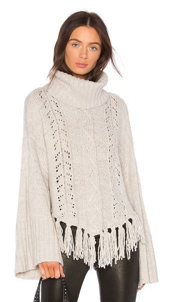 cupcakes and cashmere Prilla Fringe Sweater in neutral - 85% acrylic 10% nylon 5% poly. Dry clean only. Rib knit...
