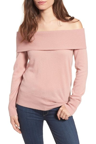 CUPCAKES AND CASHMERE roderick off the shoulder cashmere sweater - A rib-knit panel wraps the top of this exquisitely soft...