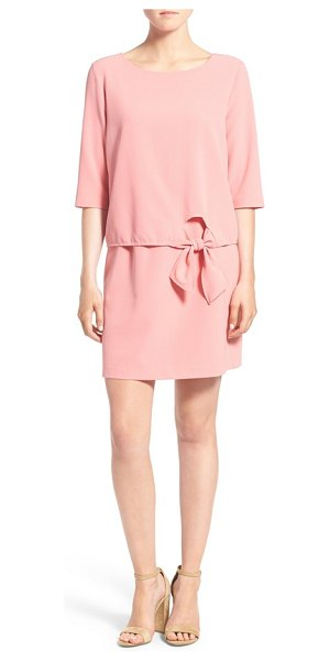 cupcakes and cashmere tenley shift dress in pink blush - A three-quarter-sleeve bodice with an elegantly tied bow...