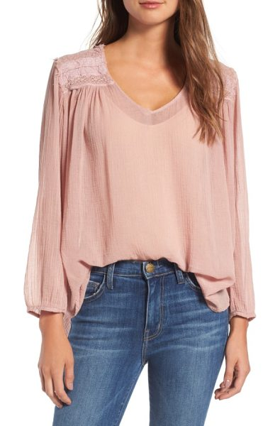 Current/Elliott picnic shirt in coral rose - Bohemian and feminine, this lightweight cotton blouse is...