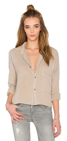 Current/Elliott The boxy cropped button up in beige - 100% cotton. Front button closure. Chest pocket....