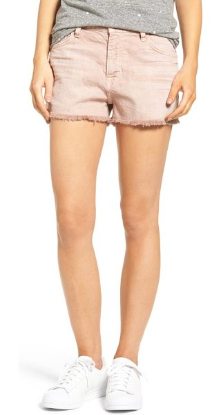 Current/Elliott the boyfriend high waist denim shorts in rose dust - Incredibly soft cotton-blend denim makes up laid-back...