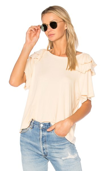 Current/Elliott The Double Ruffle Tee in beige - Cotton blend. Tiered ruffle sleeves. CURR-WS382. 9142...