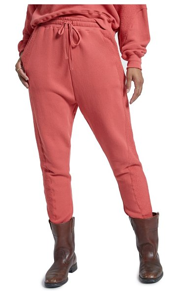 Current/Elliott the hunt contrast side stripe cotton joggers in coral