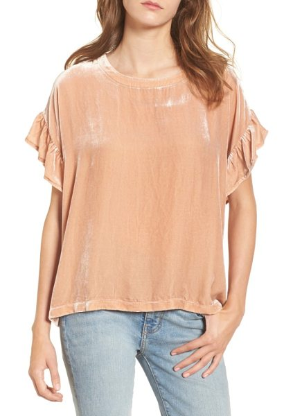 Current/Elliott the janie velvet top in muted misty rose - Update your tee collection with this plush velvet style...