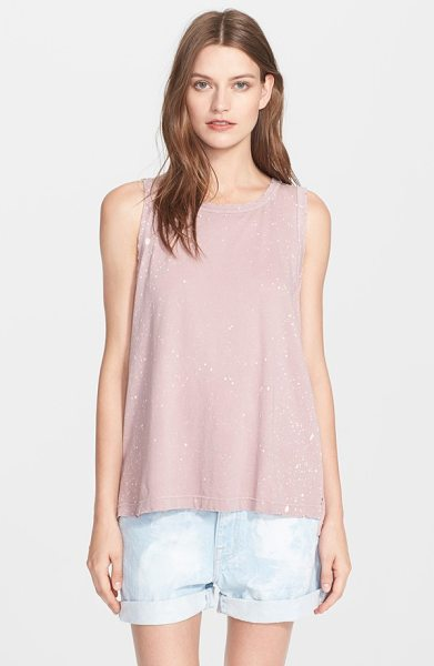 Current/Elliott the muscle tee print cotton tank in mauve galaxy - Subtle distressing around the edges and a word-down...