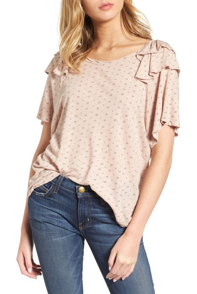 Current/Elliott the roadie ruffle tee in rose dust diamond ditsy - Ruffled at the sleeves, this supersoft tee has an easy,...