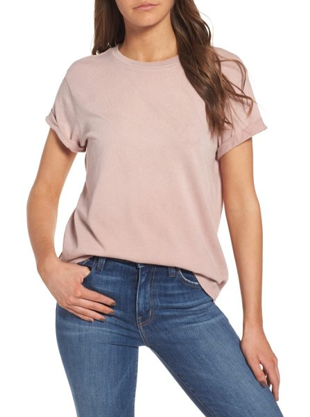 Current/Elliott the rolled sleeve glitter tee in coral rose satellite - A dash of glitter highlights the casually cool vibe of...