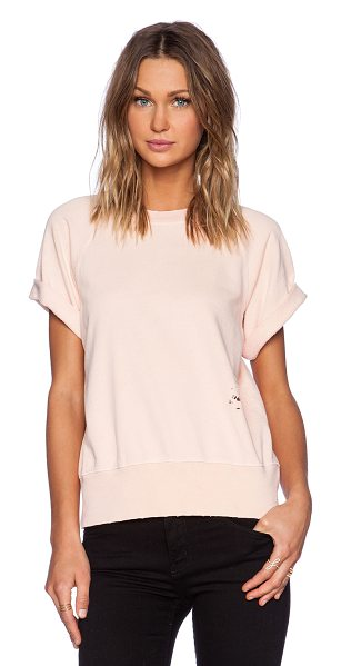 Current/Elliott The rolled sleeve sweatshirt in peach - Cotton blend. Banded edges. Cuffed sleeves. Distressed...