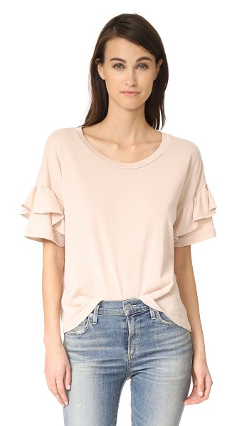 Current/Elliott the ruffle roadie tee in rose dust - A pale jersey Current / Elliott tee with a super-soft,...