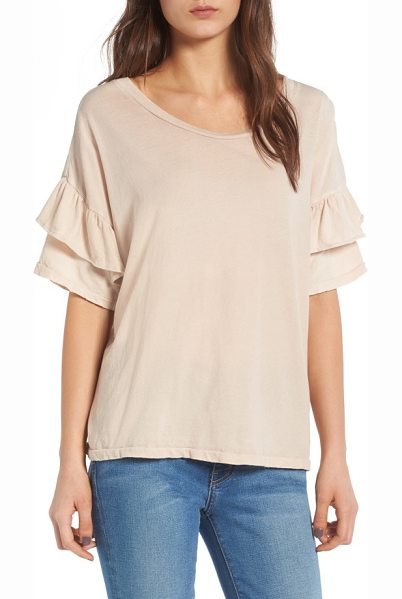 Current/Elliott the ruffle roadie tee in rose dust - Flounced ruffle sleeves add a flirty touch to a soft,...