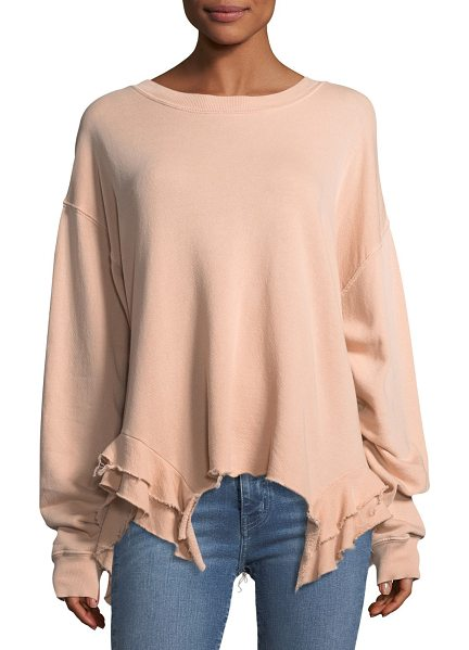 "Current/Elliott The Slouchy Ruffle Cotton Sweatshirt in pink - Current/Elliott ""The Slouchy"" sweatshirt. Crew neckline...."