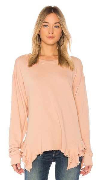 Current/Elliott The Slouchy Ruffle Sweatshirt in rose - 100% cotton. Ruffle detail. Rib knit trim. Intentionally...