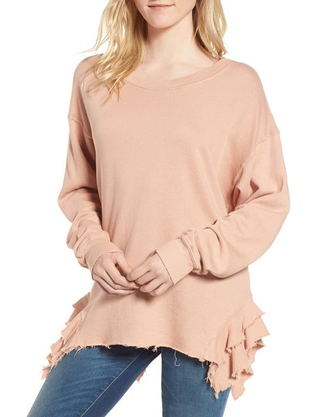 CURRENT/ELLIOTT the slouchy ruffle sweatshirt - Ruffles at each hip dress it up while an oversized fit...