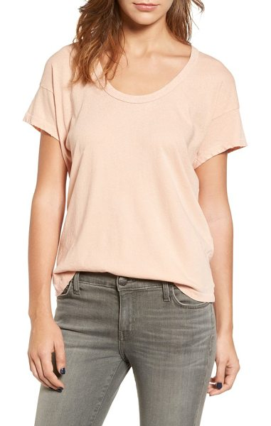 Current/Elliott the slouchy scoop tee in stardust w/ rose gold - Distressed edges and subtle embellishment add unique...