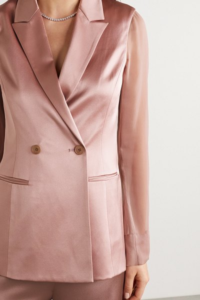Cushnie double-breasted silk-charmeuse and chiffon blazer in antique rose