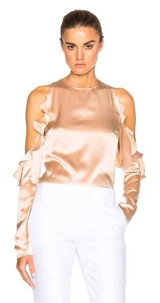 Cushnie et Ochs Cut Out Shoulder Top in champagne - 100% silk. Made in USA. Cut out detail on shoulders with...