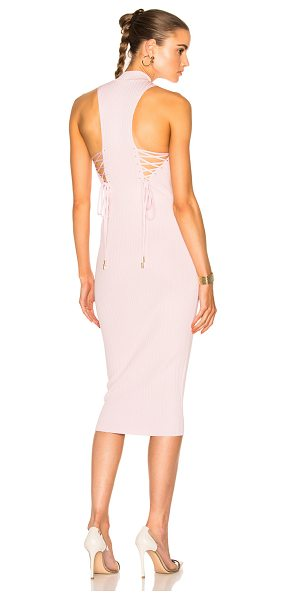 Cushnie et Ochs Deep Racer Lace Up Dress in pink - 83% viscose 17% poly.  Made in USA.  Dry clean only. ...