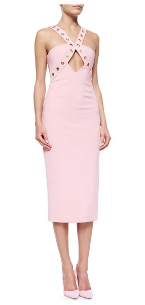 Cushnie et Ochs Grommet-detailed cutout sheath dress in desert rose - Cushnie et Ochs ponte knit sheath dress. Silvertone...