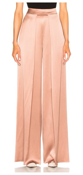 Cushnie et Ochs High Waisted Wide Leg Double Charmeuse Pant in dune - 100% silk. Made in USA. Dry clean only. Hidden back zip...