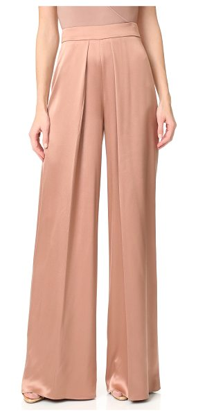 CUSHNIE ET OCHS high waisted wide leg pants in dune - Pleats accentuate the wide-leg shape of these lustrous...