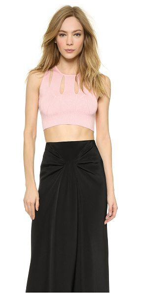 Cushnie et Ochs Knit crop top in pink - Divided panels frame the round neckline of this fine...
