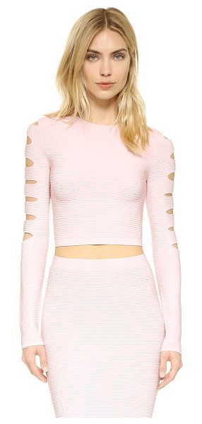 Cushnie et Ochs long sleeve slashed crop top in light pink - Thin slits accent the back and long sleeves of this...