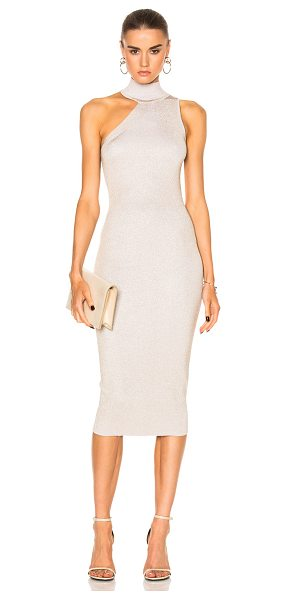 Cushnie et Ochs One Shoulder Mock Neck Pencil Dress in metallics - Self: 83% rayon 17% poly - Contrast Fabric: 80% rayon...