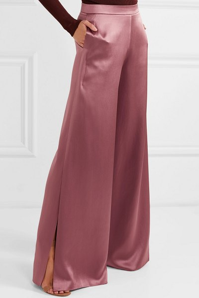 Cushnie silk-charmeuse wide-leg pants in antique rose - Cushnie's pants instantly caught our attention on the...