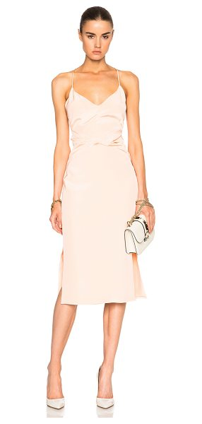 Cushnie et Ochs Silk Crepe Dress in peach - 100% silk. Made in USA. Fully lined. Pleated fabric...