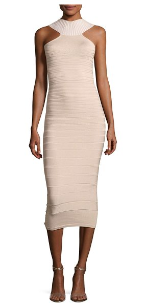 Cushnie et Ochs Sleeveless Bandage Midi Cocktail Dress in khaki - Cushnie et Ochs bandage-style cocktail dress with...