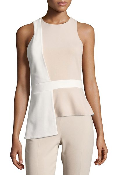 Cushnie et Ochs Sleeveless Bicolor Top with Overlapping Panel in khaki - Cushnie et Ochs bicolor top with overlapping detail....
