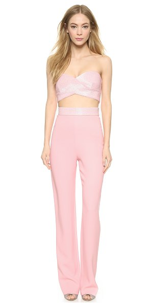 Cushnie et Ochs Strapless jumpsuit in desert rose - Dense beading details the cutout bodice on this...