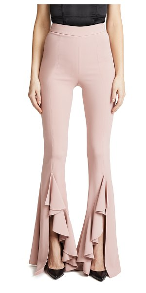 CUSHNIE ET OCHS ula high waisted flares in dusty rose - Fabric: Crepe suiting Split cuffs Flare silhouette Full...