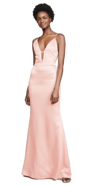 Cushnie plunging sleeveless gown in pink sand