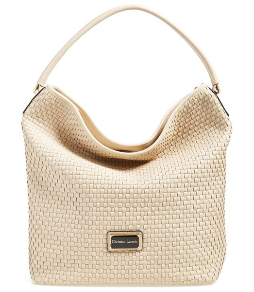CXL BY CHRISTIAN LACROIX Avignon woven faux leather hobo in nude
