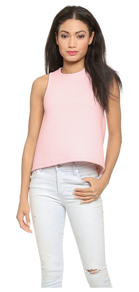 Cynthia Rowley Bonded pique racer shell top in pale pink - A sleeveless Cynthia Rowley top cut from crisp neoprene...