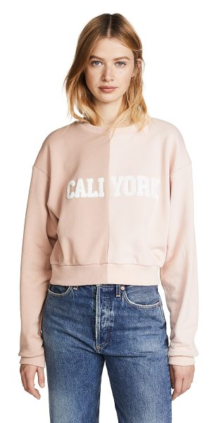 Cynthia Rowley cali york sweatshirt in tan/blush - Fabric: French terry Two-tone colorblocking Cropped...