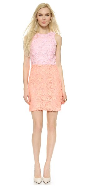 Cynthia Rowley Combo lace dress in soft pink/coral - Raised floral appliqués and two tone lace bring unique...