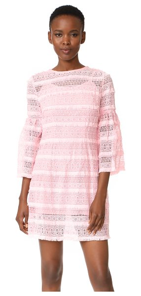 Cynthia Rowley eyelet bell sleeve dress in pink - Texture-rich lace composes this crew-neck Cynthia Rowley...